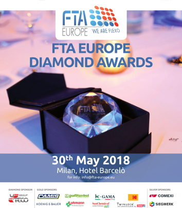 FTA Europe Diamond Awards 2018 – Twinlock by Tesa and KBA-Flexotecnica as Gold Sponsors and Tresu Group as Silver Sponsor!