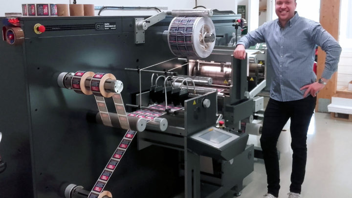 The first label converting line in Tidtryck, Sweden