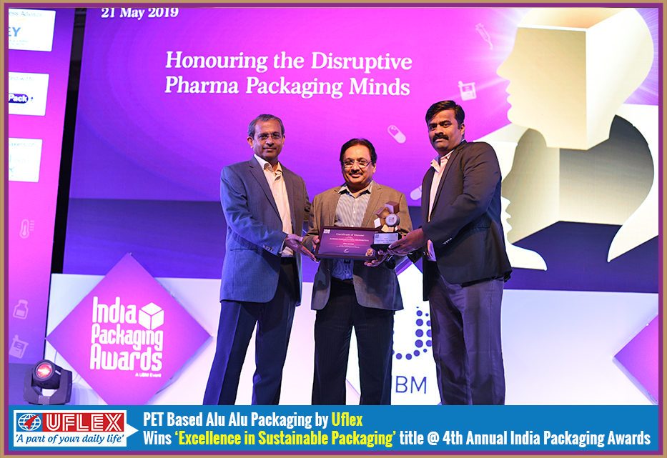 PET Based Alu-Alu Packaging by Uflex Adjudged Winner at 4th Annual India Packaging Awards for 'Excellence in Sustainable Packaging'