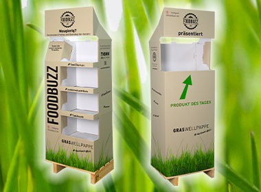 Corrugated cardboard made from grass paper for sustainable Foodbuzz displays